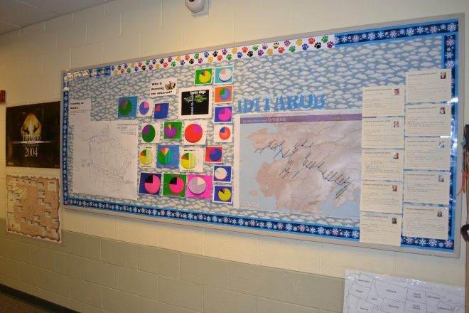 Our current hallway display:  The map on the left shows the pathway our packages took to get to Alaska, the map on the right is where we will track our musher